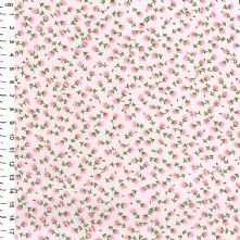 100% Cotton Small Pink Floral Print on Pale Pink Fabric 44